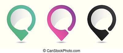 sätta, lokalisering, vit, karta, bakgrund., lysande, isolerat, ikonen, pointers.