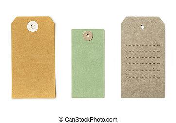 sätta, märken, läder, formar, isolerat, papper, olika, grungy, färsk, åldrig