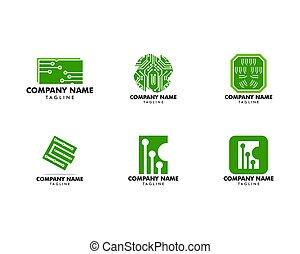 sätta, mall, illustration, vektor, design, strömkrets, logo, ikon