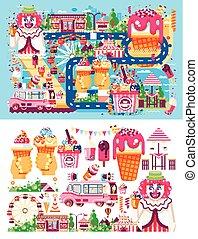 sätta, maskin, cafe, nöje, grädde, olik, is, lägenhet, säljande, slagen, affär, mat, parkera, stil, illustration, choklad, karamell, frukt, vanilj, försäljning, clown, fyllande, vektor, hjul, måltiden, väg
