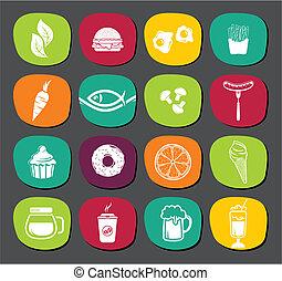 sätta, mat, etiketter