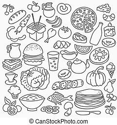 sätta, mat, klotter, icons., hand, vektor, oavgjord