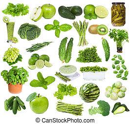 sätta, med, grön, mat