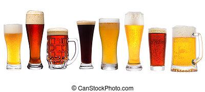 sätta, med, olik, öl