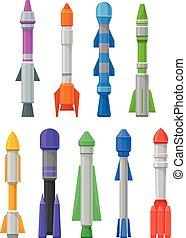 sätta, missiles., illustration, bakgrund., vektor, vit