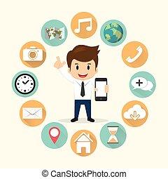 sätta, mobil, illustration, ansökan, vektor, omge, affärsman