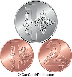 sätta, motsatt, färsk, belarusian, pengar, mynter