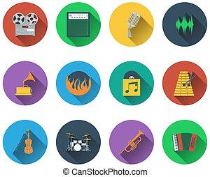 sätta, musikalisk, ikonen