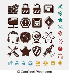 sätta, nätverk, ikonen