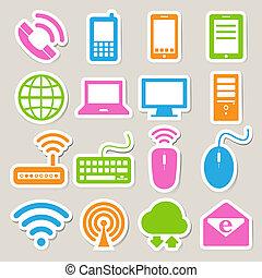 sätta, nätverk, mobil, enheter, dator, connections., ikon