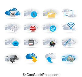 sätta, nätverk, moln, ikon