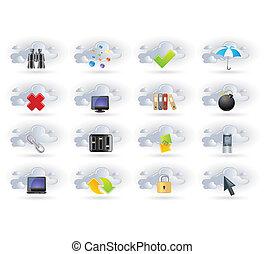 sätta, nätverk, moln, ikonen