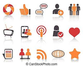sätta, nätverksarbetande, ikonen, färg, serie, social, apelsin, röd