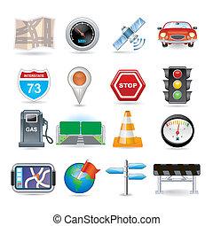 sätta, navigation, ikon