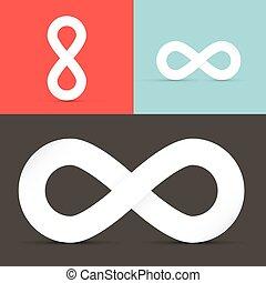 sätta, oändlighet, symboler, vektor, retro, bakgrund