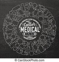 sätta, objekt, klotter, medicinsk, vektor, tecknad film