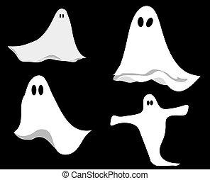 sätta, og, halloween, spöke, illustrationer