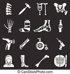 sätta, orthopedist, ikonen, grå, vektor, redskapen, ben