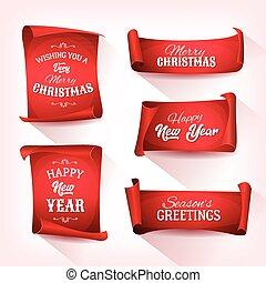 sätta, pergament, rulla, jul