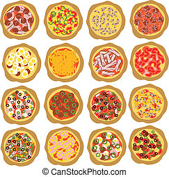sätta, pizza