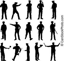 sätta, polis, illustration, vektor, svart, york, färsk, silhuett, femton