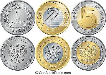 sätta, polska, pengar, en, två, och, fem, zloty, mynter