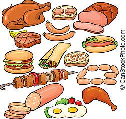 sätta, produkter, kött, ikon