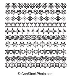 sätta, prydnad, ram, vektor, mönster, arabiska, borsta