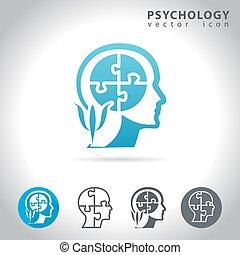 sätta, psykologi, ikon