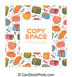 sätta, ram, fyrkant, mönster, isolerat, bakgrund, vit, färgrik, utrymme, illustration, hand, bakgrund, avskrift, ikon boxa, 10, lurar, centrera, gåva, eps, vektor, teckning