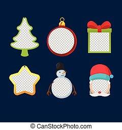 sätta, ram, objekt, vektor, design, jul