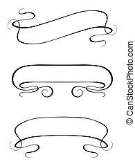 sätta, ram, vektor, kalligrafi, baner, band