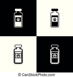 sätta, recept, ikonen, liten medicinflaska, medicinsk, isolerat, illustration, bakgrund., vektor, svart, älsklingsdjur, medicin, animal., vit