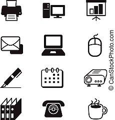 sätta, redskapen, affärskontor, ikon
