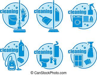 sätta, rensning, ikon