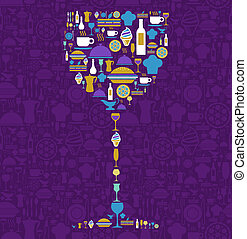 sätta, restaurang, glas, form, ikon, vin