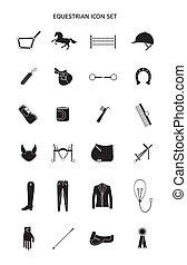 sätta, ryttare, utrustning, vektor, ikon, skissera
