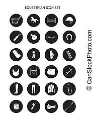 sätta, ryttare, utrustning, vektor, runda, ikon