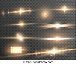 sätta, signalljus, verkan, lins, vektor, transparent