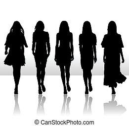 sätta, silhuett, flickor, isolerat, illustration, singel, vektor, ikon