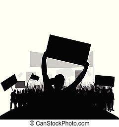 sätta, silhuett, folk, baksida, två, protestera, vektor, grupp