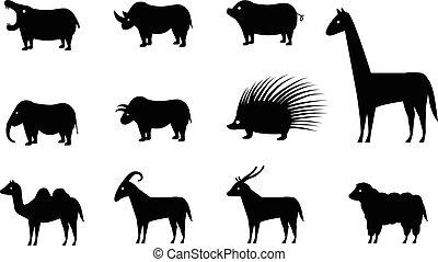sätta, silhuett, ikonen, vektor, djur, stil
