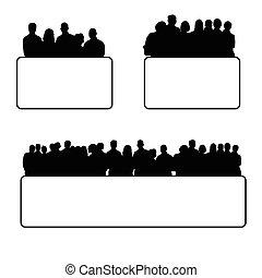 sätta, silhuett, illustration, folk