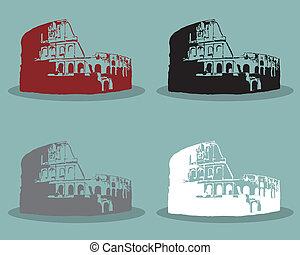 sätta, silhuett, illustration., rom, vektor, svart, colosseum