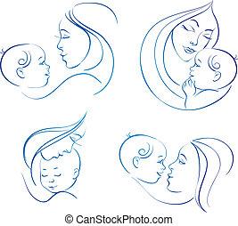 sätta, silhuett, linjär, mor, illustrationer, baby.