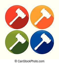 sätta, silhuett, symbol, ved, cirkel, hamra ikon