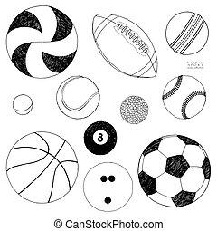 sätta, sketch., isolerat, hand, vektor, bakgrund, oavgjord, balls., sport, vit