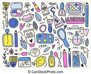 sätta, smink, vektor, onjects, din, design.