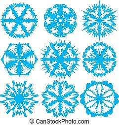 sätta, snöflingor, illustration, bakgrund., vektor, vit