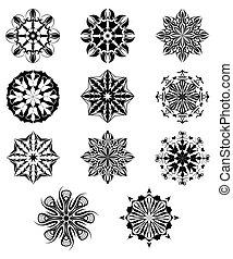 sätta, snöflingor, isolerat, illustration, bakgrund., vektor, vit